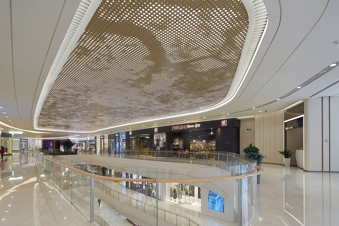 Perforated Acoustic Artistic Aluminum Ceiling Panels With PVDF / PET Coating